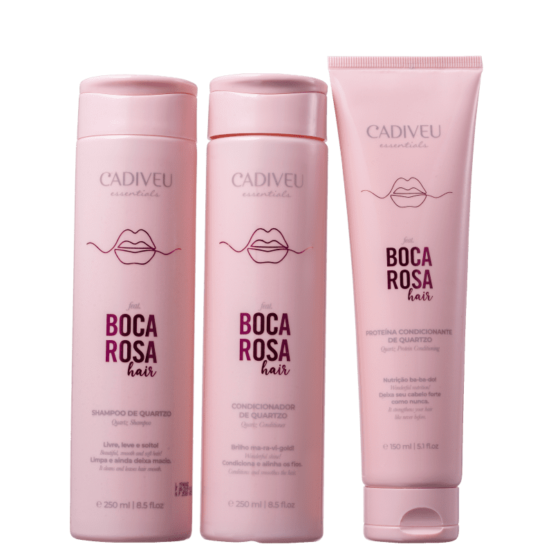 Kit Boca Rosa Hair Quartzo Cadiveu Proteína 150ml + Shampoo 250ml + Condicionador 250ml