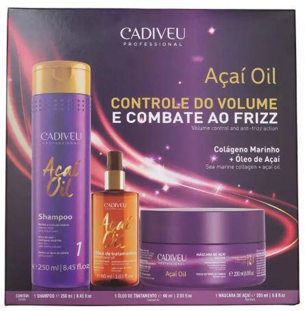 Cadiveu Professional Açaí Oil Shampoo 250ml+Mascara 200ml+Oleo Capilar 60ml