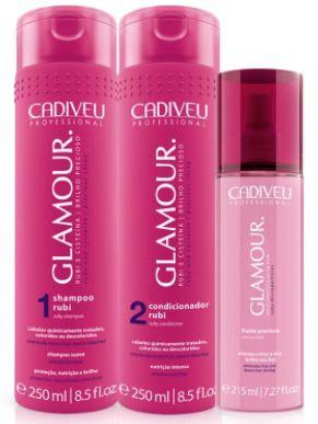 Kit Cadiveu Professional Glamour Glossy Rubi - Shampoo, Condicionador, Fluído