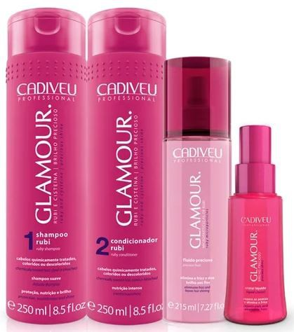 Kit Cadiveu Professional Glamour Glossy Rubi - Shampoo, Condicionador, Fluído e Reparador