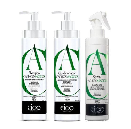 Kit Eico Cachos Mágicos - Shampoo e Condicionador + Spray