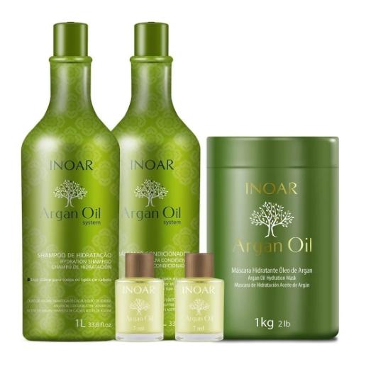 Kit Inoar Argan Oil System Salon Trio E 2 Óleos Argan Oil