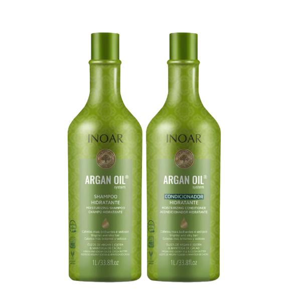 Kit Inoar Shampoo + Condicionador Argan Oil System 1000ml