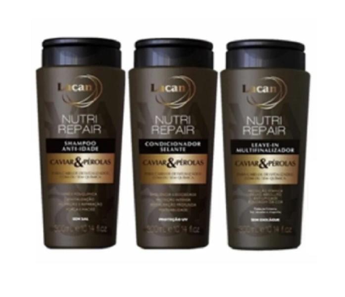 Kit Lacan Caviar e Pérolas (Shampoo+Cond+Leave-in)