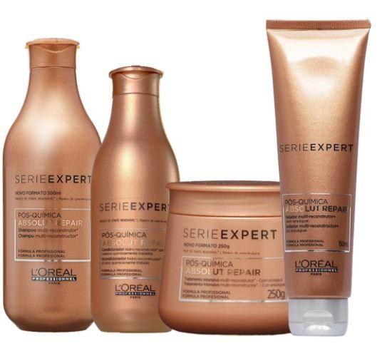 Loréal Professionnel Absolut Repair Pós-química Shampoo 300ml+Condicionador 200ml+Mascara 250ml+Leave-in 150ml