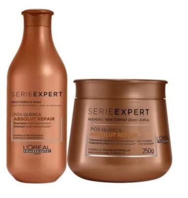 Kit Loréal Shampoo + Máscara Absolut Repair Pós-química