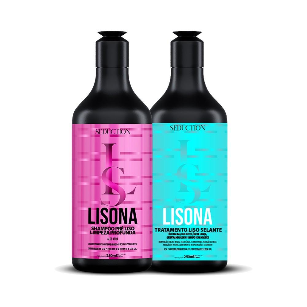 Kit Progressiva Lisona Seduction Shampoo + Tratamento Liso Selante 250ml