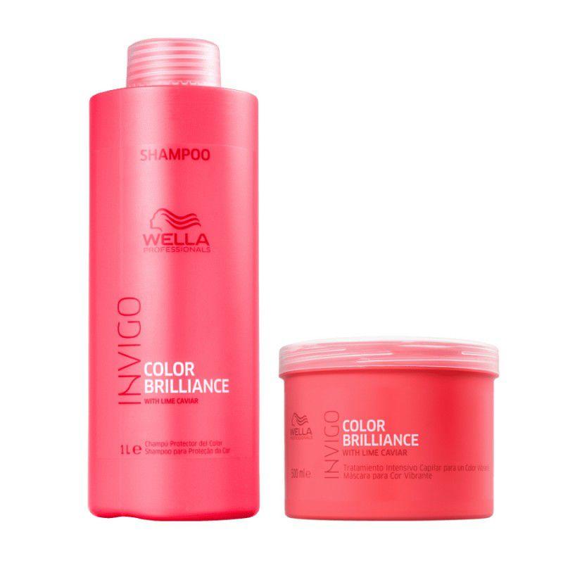 Kit Wella Invigo Color Brilliance Shampoo 1l + Máscara 500g