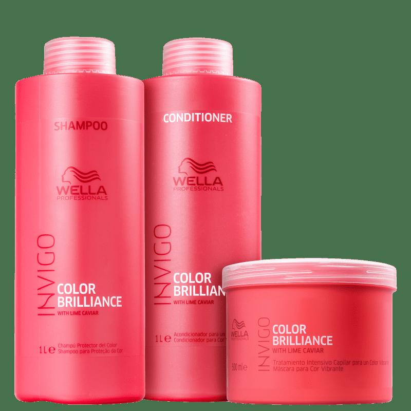 Kit Wella Professionals Invigo Color Brilliance Trio Shampoo Condicionador e Máscara (3 Produtos Grandes)