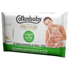 Toalha Umedecida Cottonbaby Premium Cuidado Da Pele Com 50 Unidades
