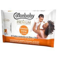 Toalha Umedecida Cottonbaby Premium Hidratação Intensa Com 50 Unidades