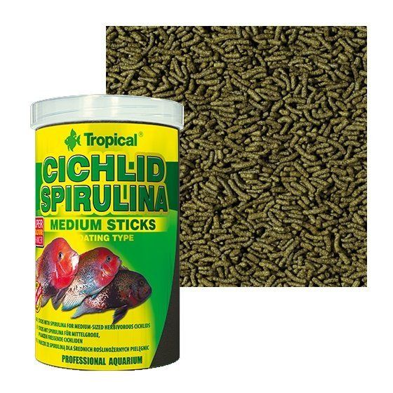 Tropical Cichlid Spirulina Medium Sticks 360g  - Aquário Estilos