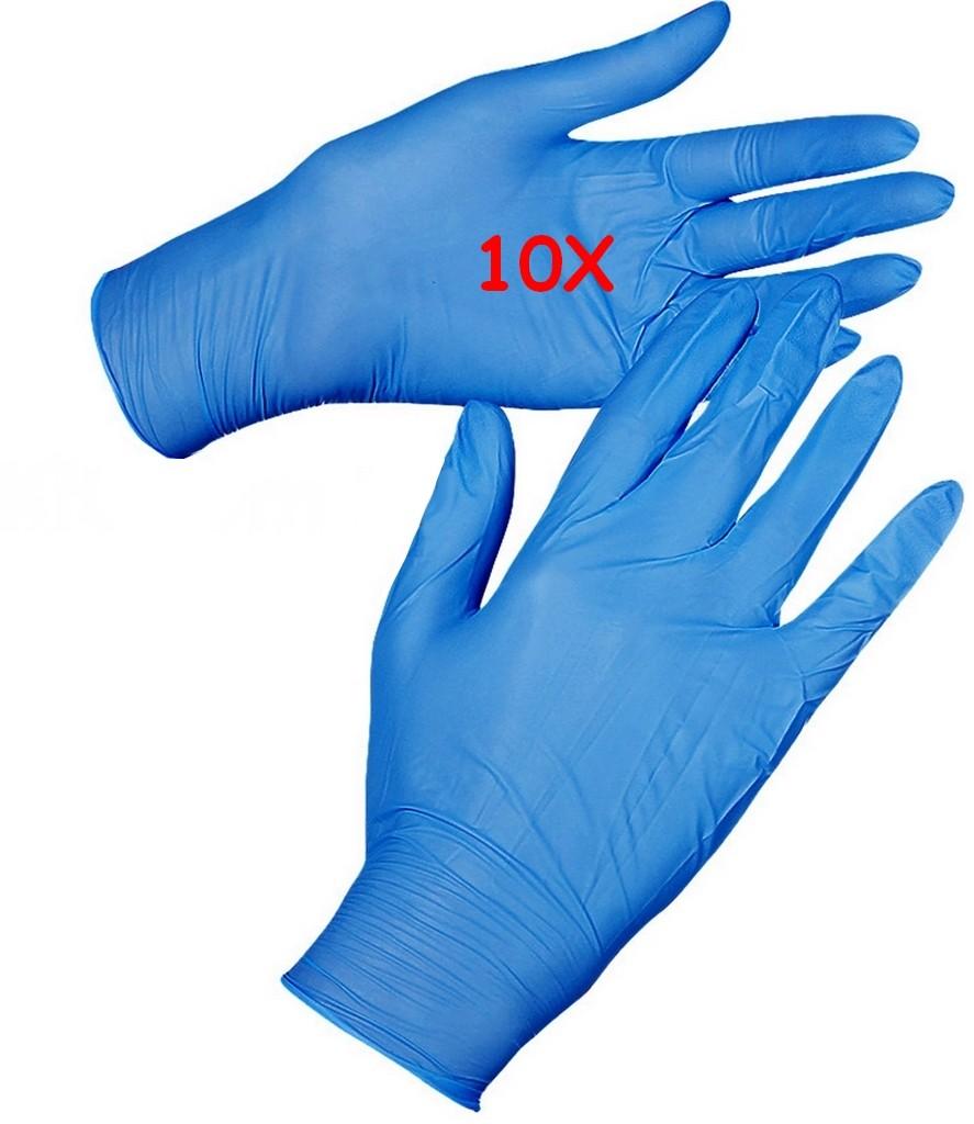 10 Luvas Nitrylex Atacado Azul Tam M Sem Pó Resistente Profissional Nova