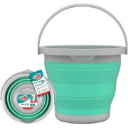 Balde Retrátil Para Limpeza 5 Litros Dobrável Sanfona Flexível Com Alça Resistente Prático Desmontável Verde Água Flashlimp