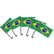 Bandeira Do Brasil 5 Unidades Com Haste Para Carro Automóvel Plástico Translúcido Transparente