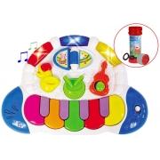 Bandinha Show Tecladinho Inteligente Eletrônico Musical Pianinho Luz Estimula Coordenação Motora Bolhas De Sabão Zoop Toys