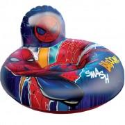 Bóia Poltrona Inflável Homem-aranha Infantil Spider-man Encosto 70 Cm Plástico Azul Brinquedo Divertida Reforçada Meninos Marvel Etitoys