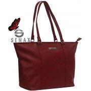 Bolsa Feminina Tote Bag Social Alça Ombro Vermelha Pvc Original Semax