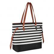 Bolsa Feminina Preta Tote Bag Listrada Grande Alça Ombro AL1904