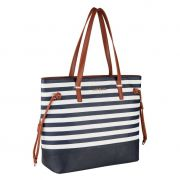 Bolsa Feminina Tote Bag Alice Palucci Listrada Azul Grande Alça Ombro Alta Qualidade AL1904