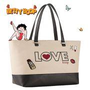 Bolsa Feminina Tote Bag Grande Bege Creme Love Betty Boop Original Semax