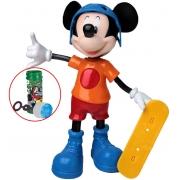 Brinquedo Boneco Mickey Radical Skatista Articulado Eletrônico Som Fala Frases Skate Infantil Educativo Meninos 24 cm Skate Bolhas De Sabão Elka