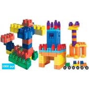 Brinquedo Infantil Blocos De Montar 1000 Peças Didático Educativo Encaixar Pedagógico Maleta Colorido Coordenação Motora Bloc Slim Lançamento Luctoys