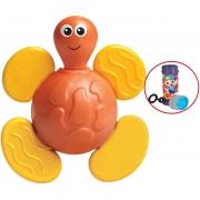 Brinquedo Para Bebês Chocalho E Mordedor Bichitos Tartaruga Estimulante Macio Barulho Suave Texturas Que Alivia Gengivas Bolhas De Sabão Elka