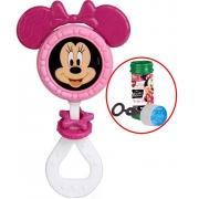 Brinquedo Para Bebês Chocalho E Mordedor Minnie Menina Estimulante Barulho Suave Orelhas Macias Bolhas De Sabão +3 Meses Elka