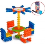 Brinquedo Pino Mágico Para Montar Colorido Bolhas De Sabão 100 Peças Estimula Criatividade Coordenação Motora Menino Menina Elka
