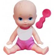 Brinquedos De Meninas Boneca Infantil Mini Dolls Little Mommy Papinha 15 Cm Pequena Babador Colher Pupee