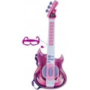 Brinquedos De Meninas Guitarra Elétrica Infantil Rosa Meninas Com Sons Função Mp3 Óculos-microfone Instrumento Musical Rock Star Zoop Toys