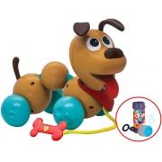 Brinquedos De Meninas Meninos Cachorro Elkão Quer Passear Infantil Bebê Cordão Ossinho Didático Brinquedo De Puxar Cachorrinho Elka