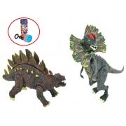 Brinquedos Meninos Dinossauros Kit 2 Unidades Stegosaurus + Dilophosaurus Boneco Infantil Desmonte Monte Colecionável Articulado Resistente +3 Anos Dm Toys