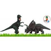 Brinquedos Meninos Dinossauros Kit 2 Unidades T-Rex Agujaceratops Boneco Infantil Desmonte Monte Colecionável Articulado Resistente +3 Anos Dm Toys