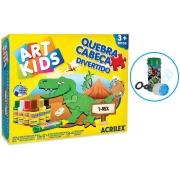 Brinquedos Meninos Quebra Cabeça Divertido Dinossauro T-rex 6 Peças Mdf Para Pintar Tintas Guache Cola Glitter Colorir Acrilex