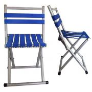 Cadeira Banco Banqueta Dobrável Alumínio Encosto Camping