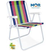 Cadeira De Praia Alta Aço Diversas Cores 110Kg Mor