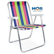 Cadeira De Praia e Piscina Alta Alumínio Suporta Até 100 kg Mor