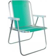 Cadeira De Praia Piscina Varanda Alta Em Alumínio Suporta Até 90kg Dobrável Polietileno Lazer Resistente Belfix