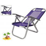 Cadeira De Praia Reclinável 5 Posições Ipanema Roxa Botafogo