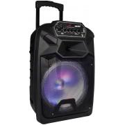 Caixa De Som Bluetooth Amplificada Portátil 300W Bivolt LED Usb Micro Sd Auxiliar Rádio Fm Alça Rodinhas Microfone Bateria Recarregável VC7302 Vicini