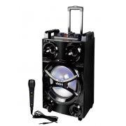 Caixa De Som Bluetooth Rodinhas Acústica 600w Vicini USB FM Auxiliar Cartão SD Microfone Alça VC-7600