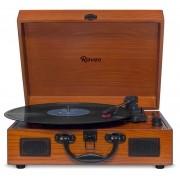 Caixa De Som Vitrola Retrô Hi-Fi Raveo Sonetto Wood Com Toca-Discos, Cassete, CD, Bluetooth e USB Reproduz E Grava Em Mp3