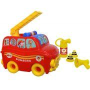 Caminhão Sos Resgate Bombeiro Brinquedo Infantil Vermelho Acessórios Meninos Criança Divertido Lançamento Elka Novo