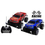 Carro De Controle Remoto Eletrônico Acende Farol Furious Racer Team Menino Azul Vermelho Resistente Original Vip Toys