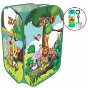 Cesto Organizador Brinquedos Roupa Suja Sapatos Infantil Dobrável De Tecido Zoo Safari Menino 100L
