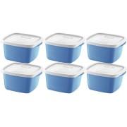 Conjunto Jogo De Potes 6 Unidades Azul Com Tampa Transparente 700ml Pode Ir No Freezer Micro-ondas Lava-louças Resistente Linha Fácil Sanremo