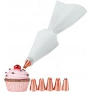 Decorador De Bolos Cupcake 6 Bicos Peças Saco Confeiteiro Fácil Manuseio Top Chef Utilidades Novo