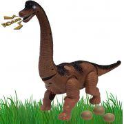 Dinossauro Braquiossauro Infantil Menino Eletrônico Som Luz Anda +3 Anos Movimentos Coloca Ovos Plástico Resistente Zoop Toys Original